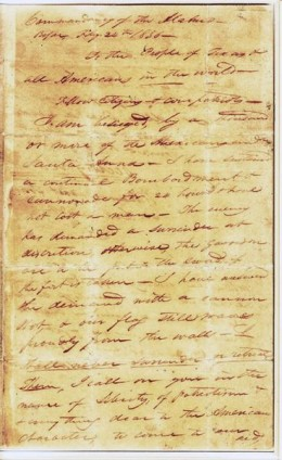 This is the first page of the letter To the People of Texas & All Americans in the world, written by William Barret Travis during the Battle of the Alamo.
