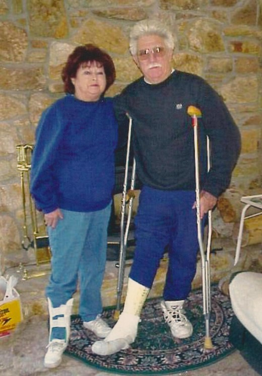 I guess you could say my mom and Bob did everything together. This was  a year before she passed away. She broke her leg and Bob had ankle sugery.