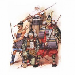 Samurais with different weapons.