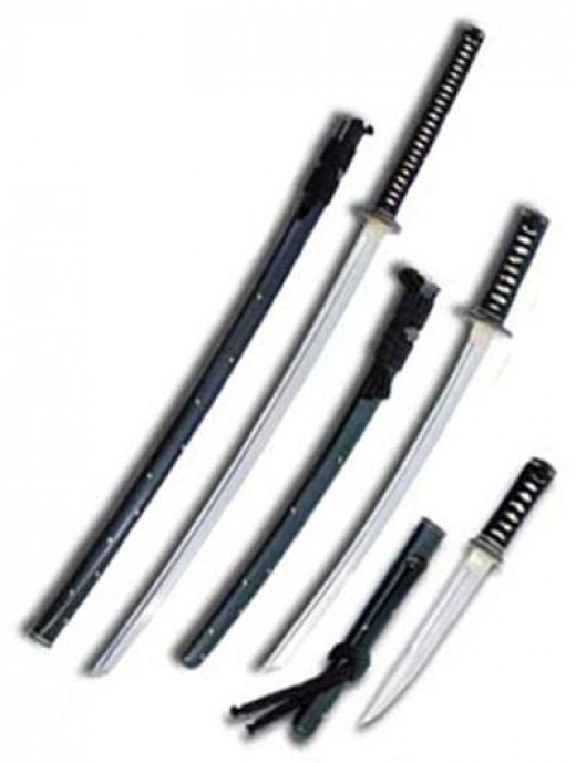 Samurai swords: left to right: katana, wakizashi and tanto