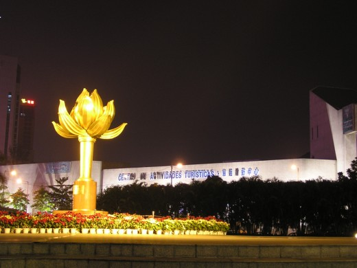 "The large sculpture of ""Lotus Flower In Full Bloom"" at the Lotus Square, with the ""Tourist Activity Centre"" in the background."