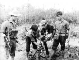 Viet Cong guerrillas on mortar training