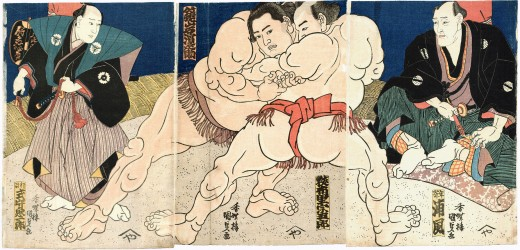 Sumo wrestlers in the figure from 1860.