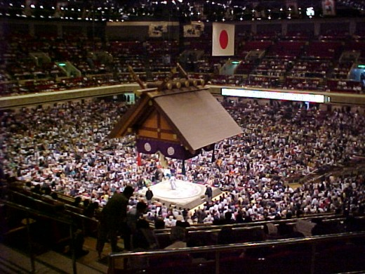 """Competition in the """"Ryogoku Sumo"""" hall in Tokyo, 22 May 2001"""