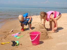 Sand and water fun at the beach.