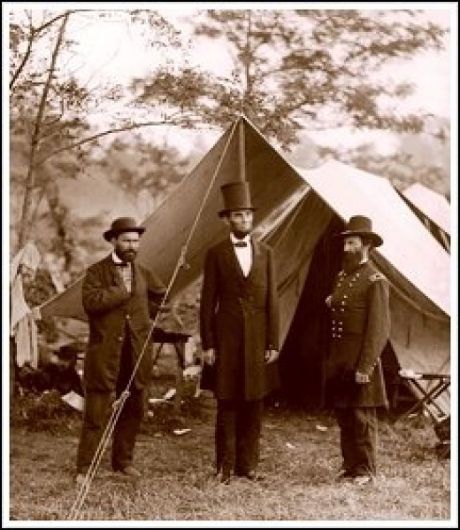 Allan Pinkerton, President Lincoln and Major General John A. McClernand 1862