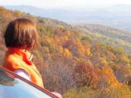 She's enjoying the view of the Blue Ridge mountains from the Skyline Drive.