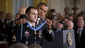 Sgt. Giunta receiving CMOH from President Obama in late 2010