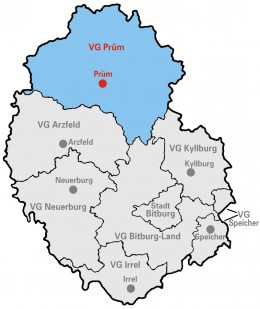 Map location of the Eifel district of Bitburg-Pruem, Rhineland-Palatinate