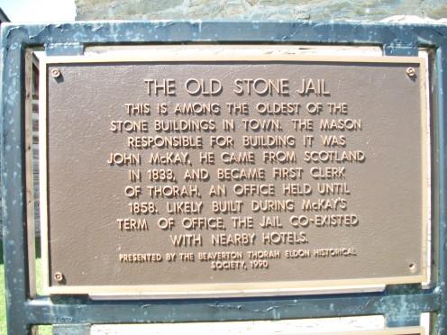 Historical plaque, Beaverton's Old Stone Jail