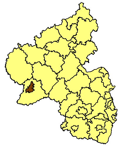 Map location of Trier in the Rhineland-Palatinate