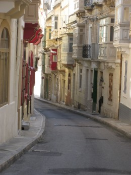 View down the street leading to Casa Zammit