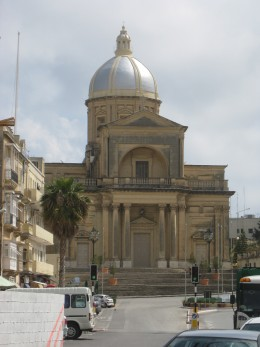 Kalkara parish church: just to the left is the little road leading up to my house