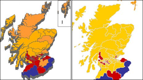 The current political map of Scotland (right) compared to the previous one on the left. Yellow - SNP, Orange - Liberal Democrat, Blue - Conservative, Red - Labour.