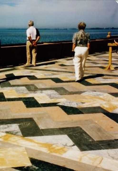 Beautiful marble flooring on the West Facade overlooking the bay.