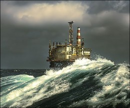 Oil rig in a stormy North sea
