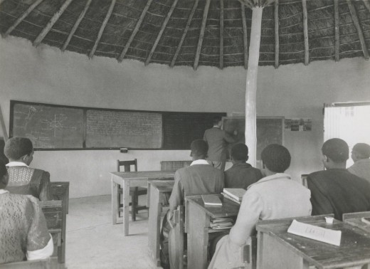 My father Murray McGregor teaching a High School class at Blythswood Institution before the advent of Bantu Education. Image from fund-raising pamphlet published in 1948