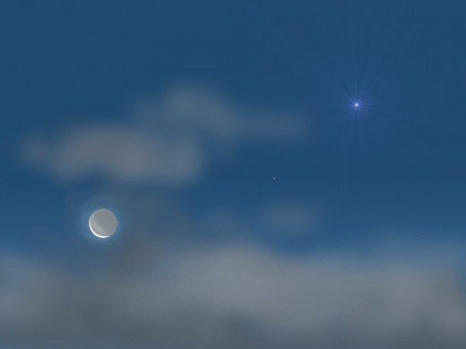 Sometimes the planet Venus is mistaken for a UFO, but in this case, it is a very natural occurrence such as this appearance as the morning star near a crescent moon.