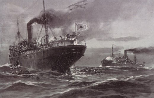 German illustration of the capturing of the Hitachi Maru 1917