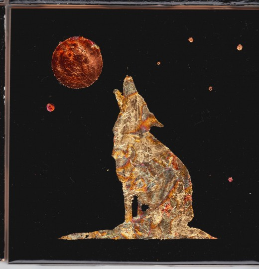 """Hand gilded wolf (4.25"""" x 4.25"""")"""