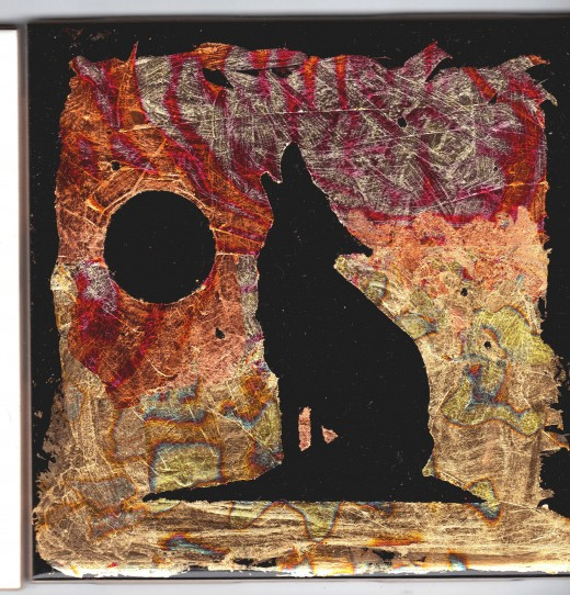 """Reverse gilded wolf (4.25"""" x 4.25"""")"""