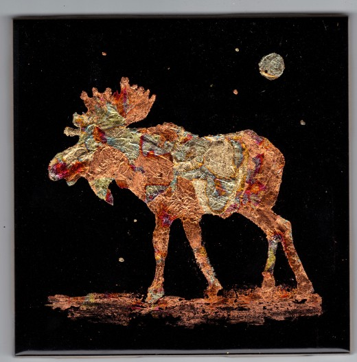 """Gilded moose (4.25"""" x 4.25"""")"""