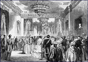 New Years' 1858 Celebration at White House, President Buchanan and Harriet Lane hosting