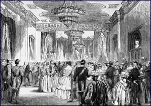 New Years' 1858 Celebration at White House, President Buchanan and Harriet Lane hosting