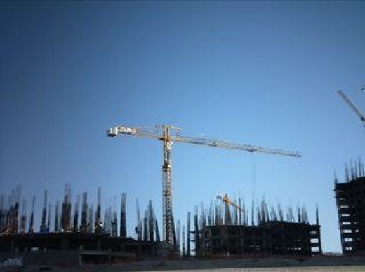 Crane above new high-rise condominiums being built for a new resort in Rocky Point, Mexico