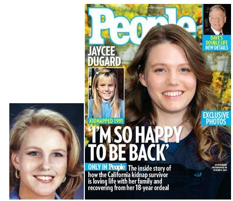 On the right is a current photo of Jaycee Lee Dugard after her rescue.On the left is an age progression image of Jaycee on what police thought Jaycee would look like as an adult.Very similar except for the hair color!