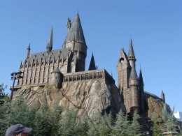 The Hogwarts Castle at the Wizarding World of Harry Potter at Isle of Adventure in Orlando, Florida.