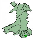 Map location of Cardiff, Wales