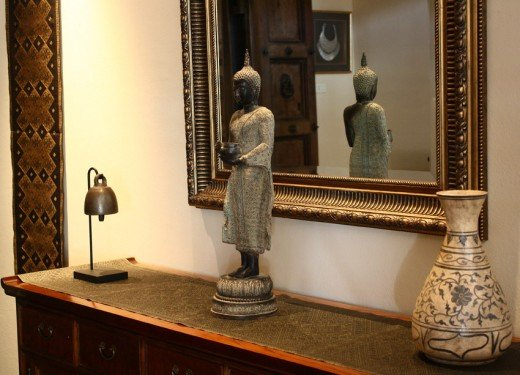Silk Wall Hanging Laos, Antique Bronze Temple Bell, Thai Buddha Image, Antique Pottery