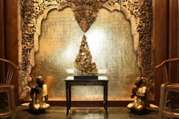Thai Teak Wood Carving, Wooden Monks, Gilded  Burmese Temple Carving, Mahogany Table
