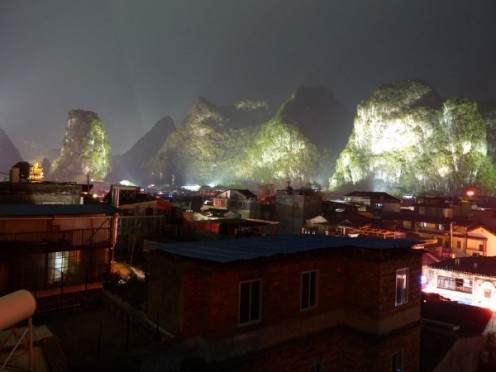 View of Yangshuo from Yangshuo 11 Hostel rooftop.