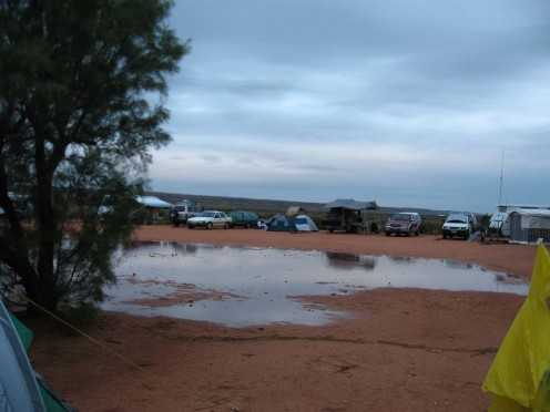 The lake at Mesa Camp site - about to grow in size as the rain comes down