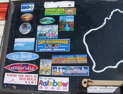 Winnie's back window  - a poignant reminder of where we have been (see previous hubs).