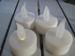 Imitation candles are great on windy days !