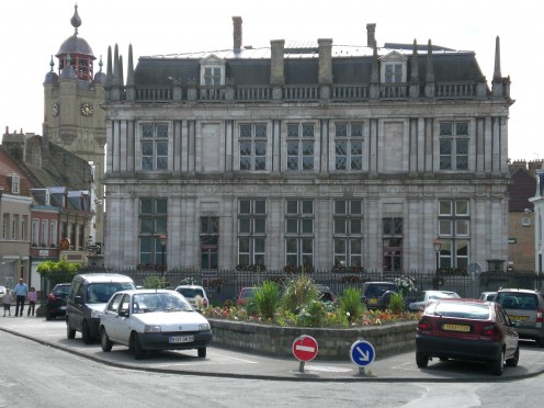 Bergues' Town Hall viewed from the rear, and, behind, the Belfry