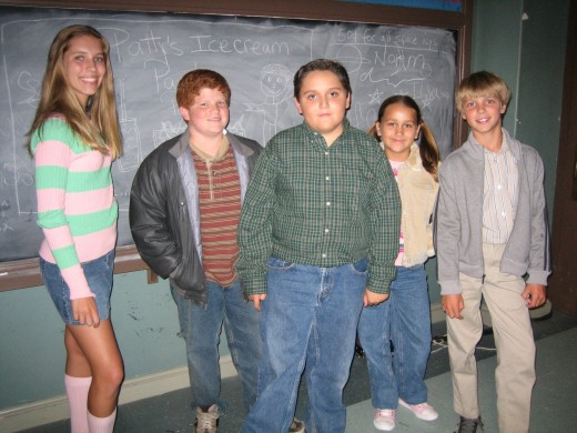 Child actors filming a TV show.