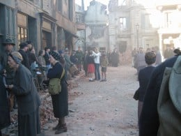"""Child actor's on the set of the movie, """"The Good German."""""""