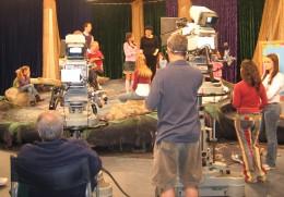 Child actors working with Selena Gomez on the Disney set.