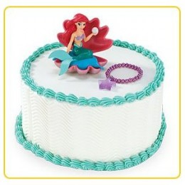 little mermaid birthday cake and party supplies