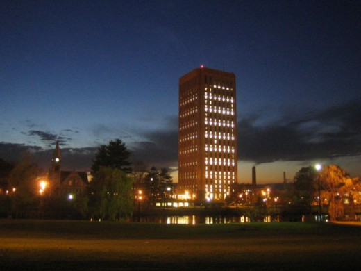 UMass Amherst campus night view