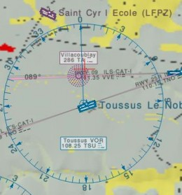 A snapshot of Atlas showing a VOR and an NDB