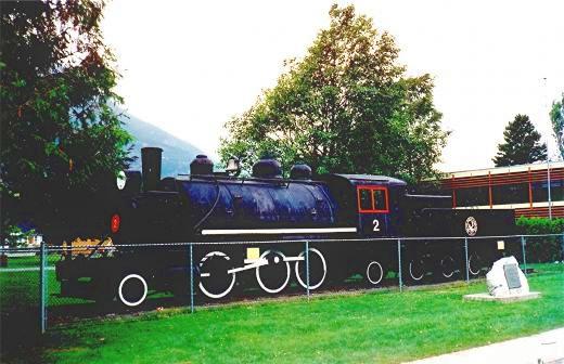Historic locomotive in Squamish on display.