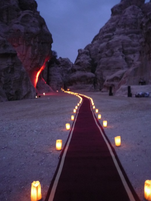 Candle lit pathway in Little Petra