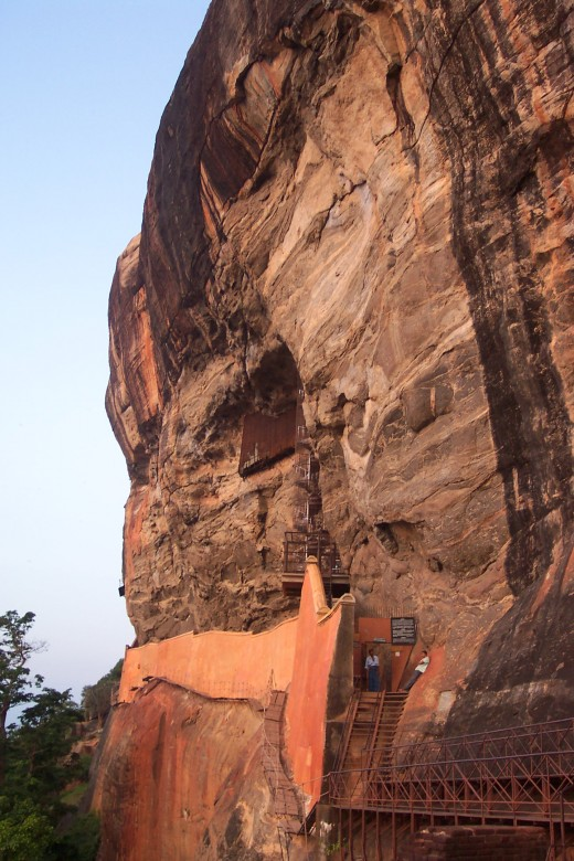 """Entrance to the """"Mirror Wall"""" on Sigiriya Rock. It is only from here that the King could stand and look up to view the many Frescoes."""