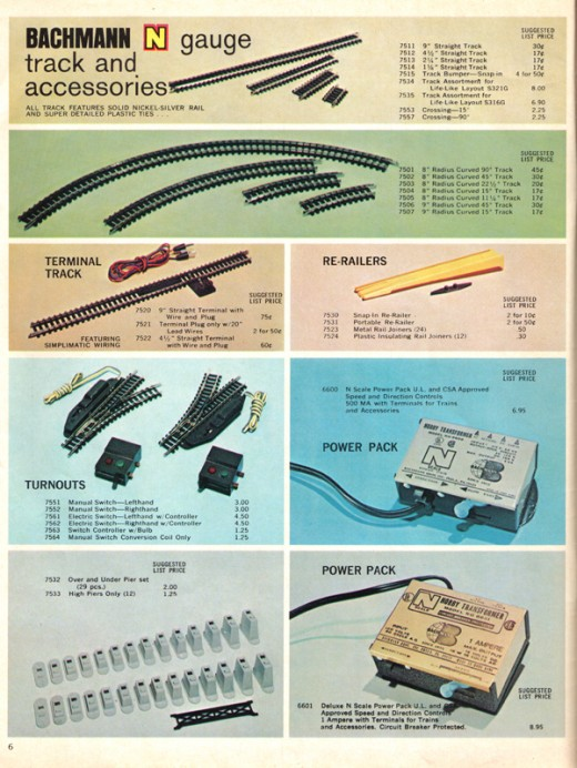 Inside the 1970 Bachmann Train Catalog.