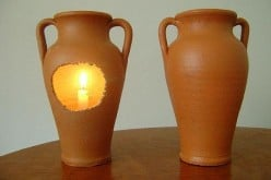 Art Project: How to make a pottery vase or pitcher into a gideons lamp